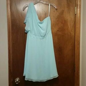 White House Black Market One Shoulder Blue Dress